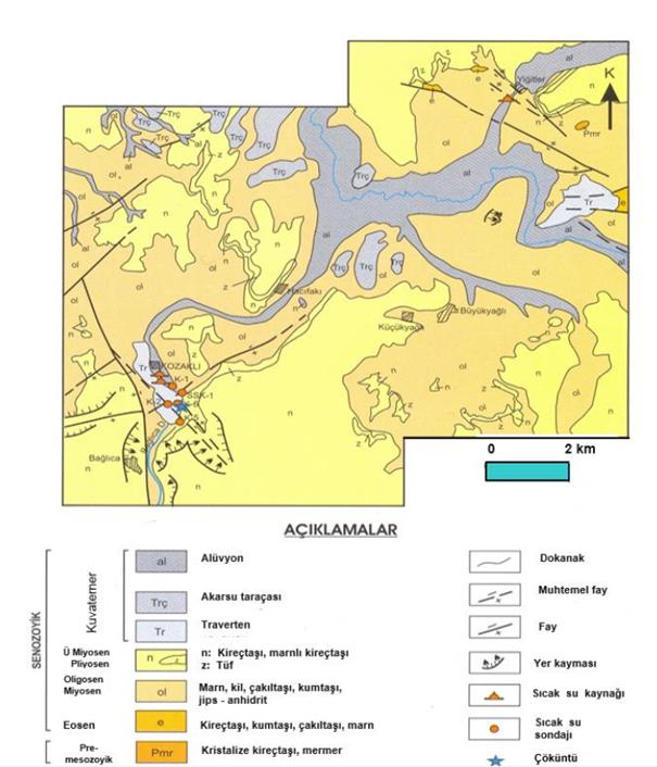 Şekil 3. Kozaklı civarınının genel jeolojik durumu